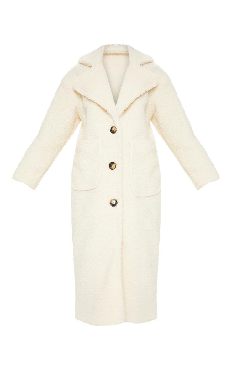 Cream Maxi Borg Coat  3