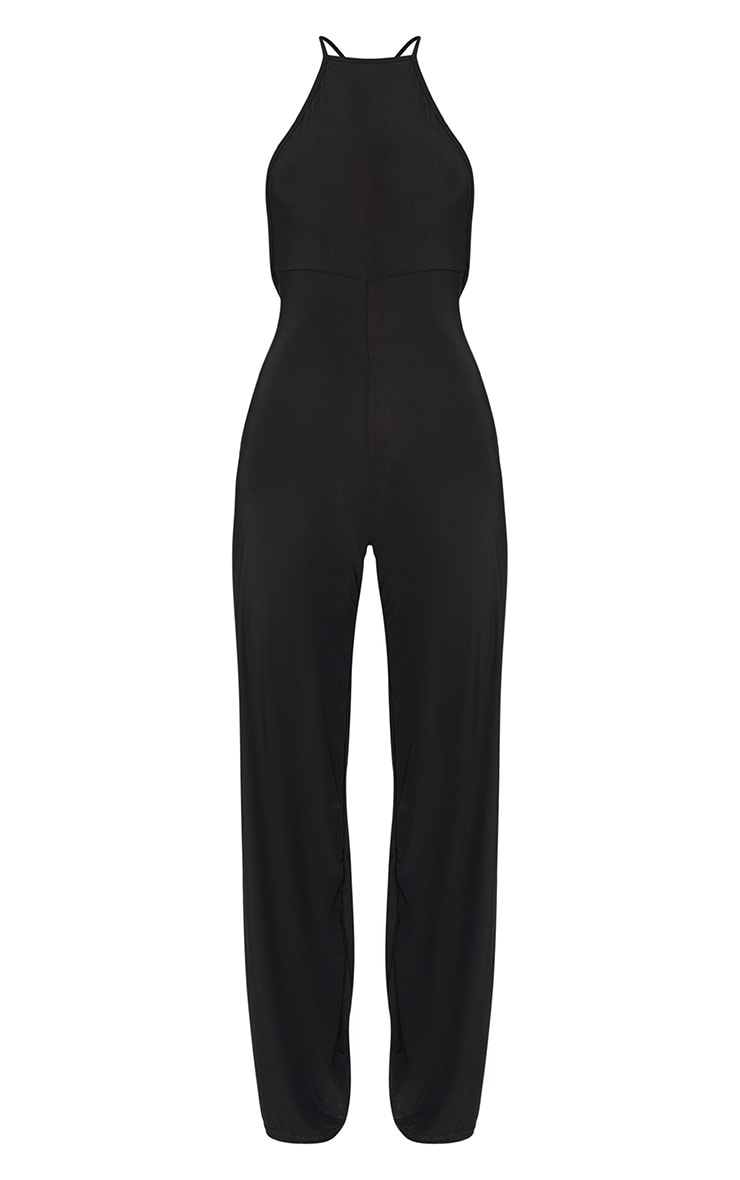 Petite Black Tie Back Strappy Jumpsuit 3
