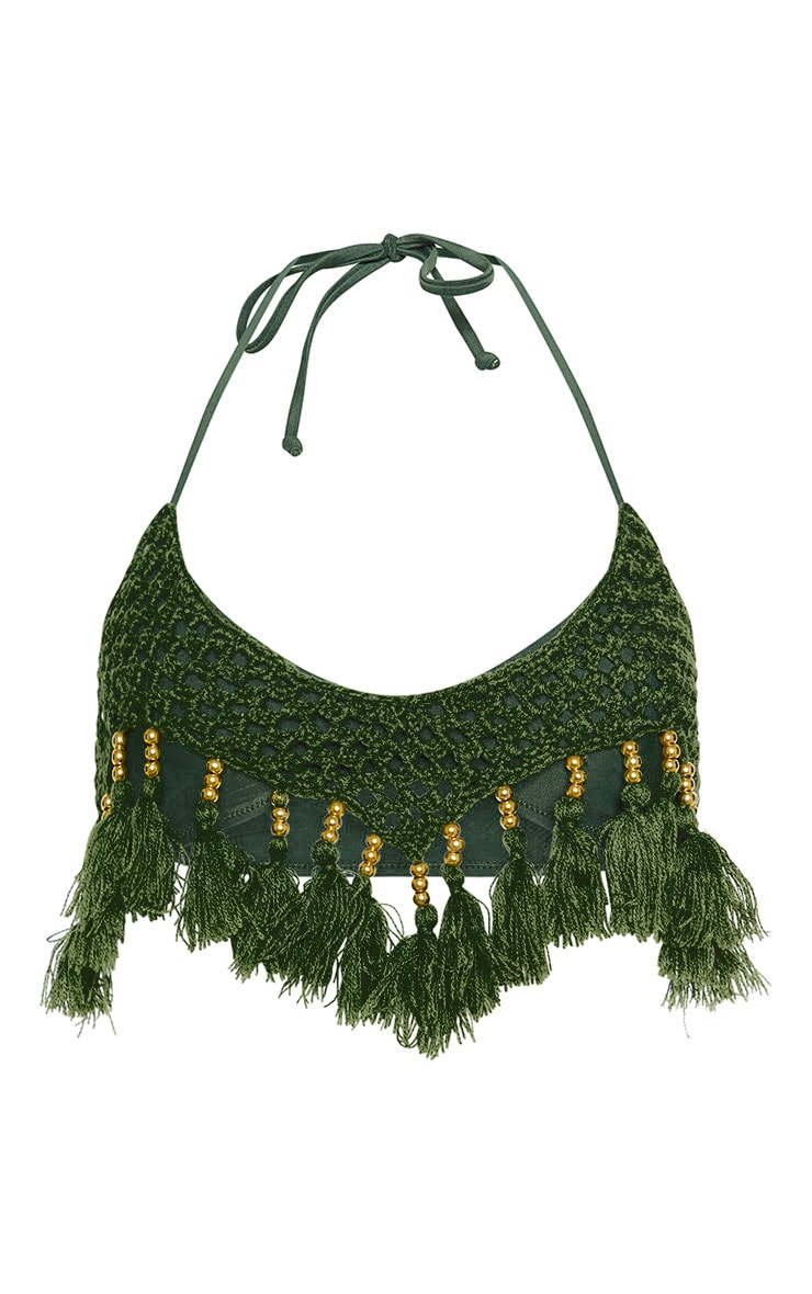 Khaki Crochet Tassel Knit Bikini Top 3