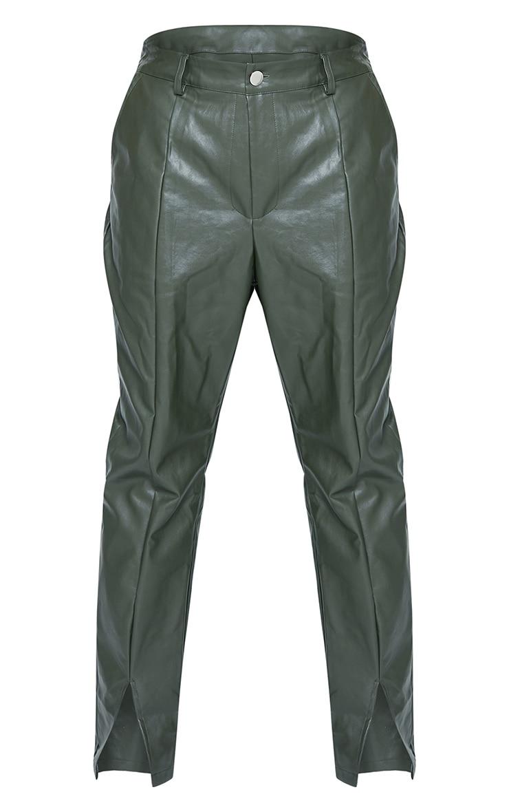 Plus Khaki PU Split Hem Pants 5