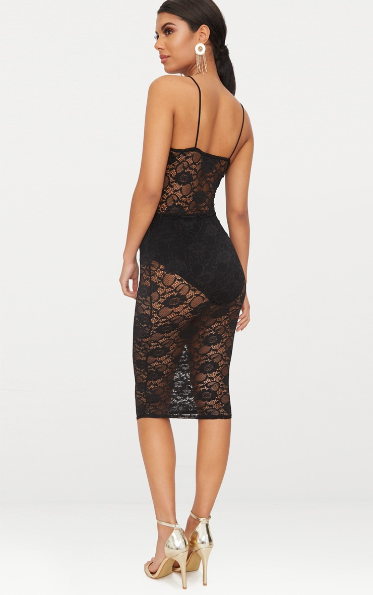 Black Lace Ruched Midi Dress 2