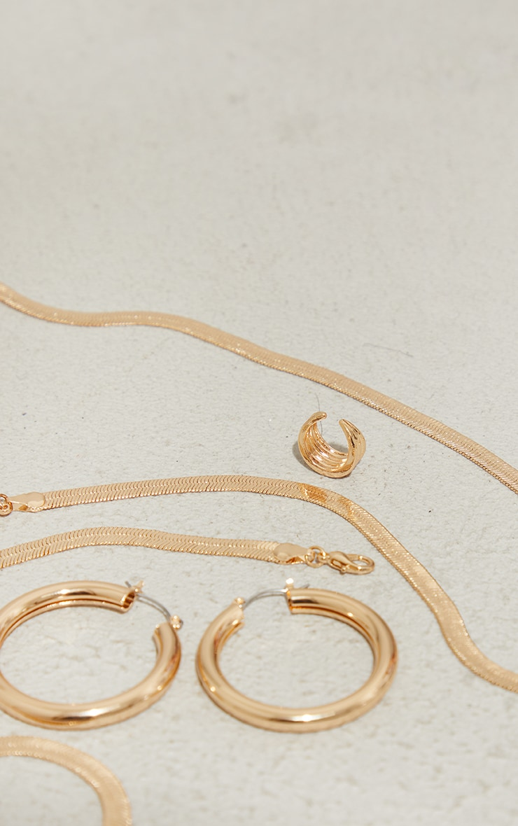 Gold Double Hoop And Necklace Pack 3