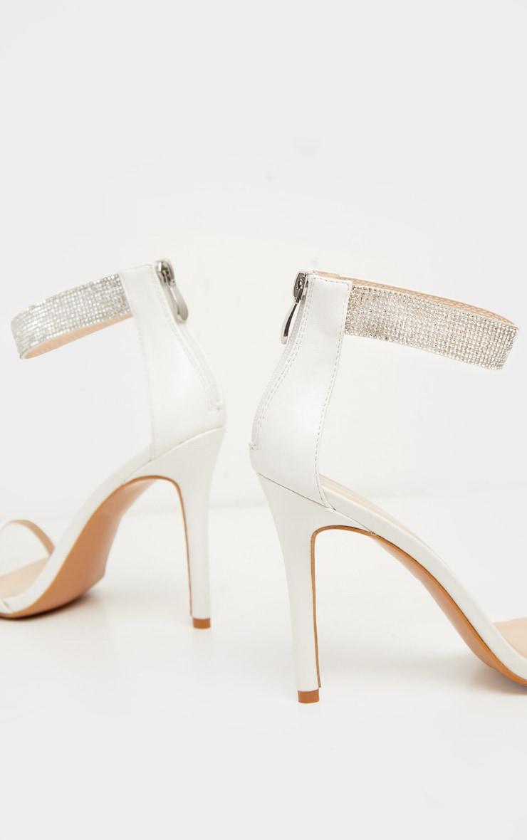 White Diamante Ankle Strappy Sandal 4