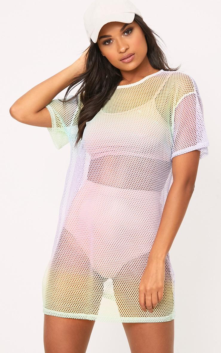 Multi Fishnet Rainbow Print T Shirt Dress 1