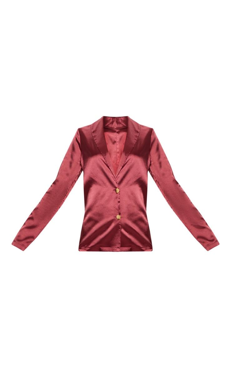 Maroon Satin Button Front Blazer 3
