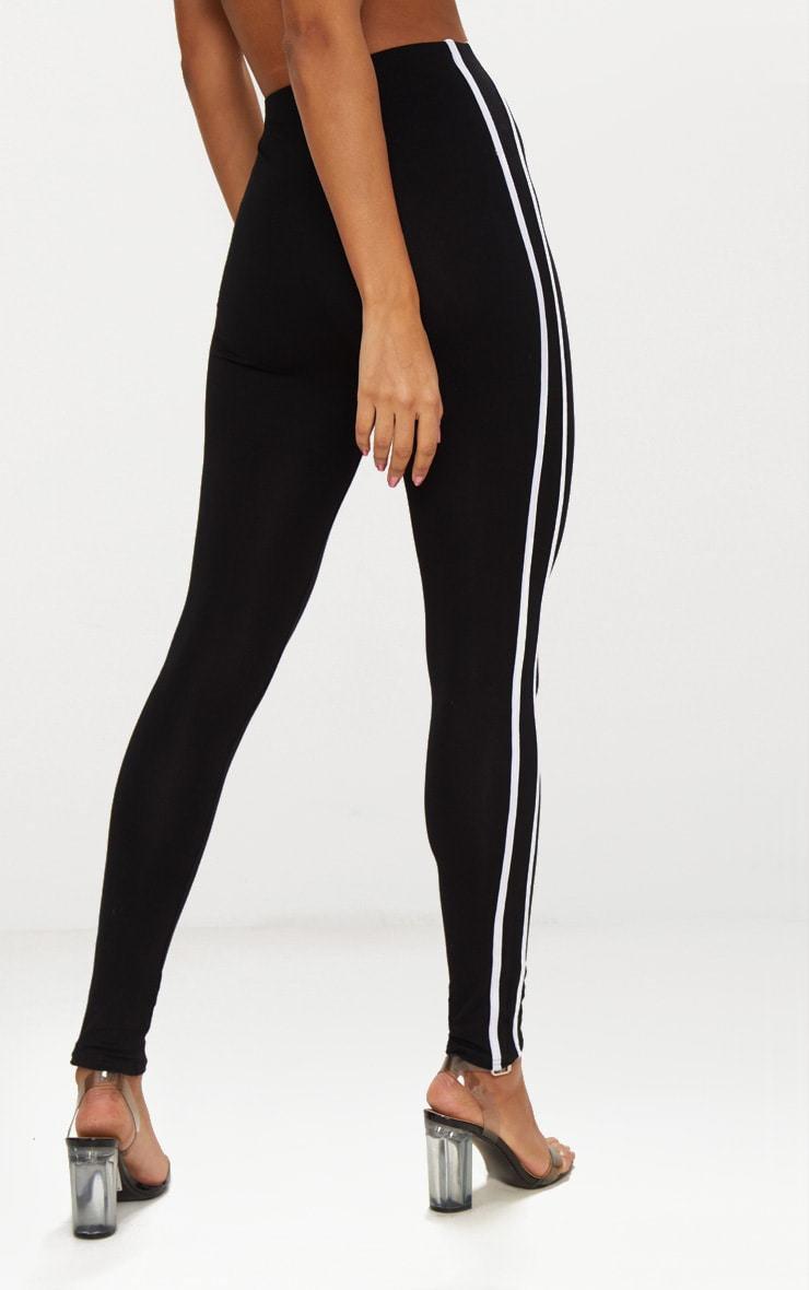 Black Ultimate Contrast Stripe Leggings 4