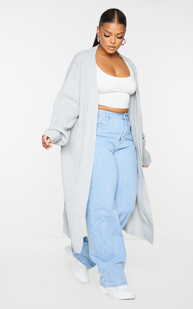 Recycled Plus Grey Ribbed Knit Midi Cardigan 3