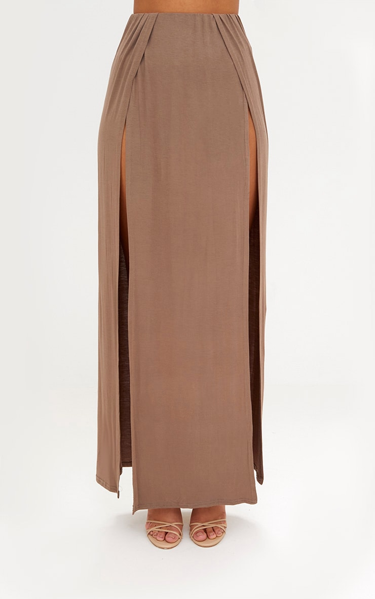 Mocha Double Split Maxi Skirt 2
