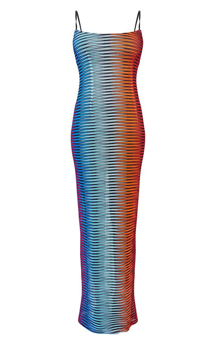 Multi Laser Cut Striped Maxi Beach Dress 5