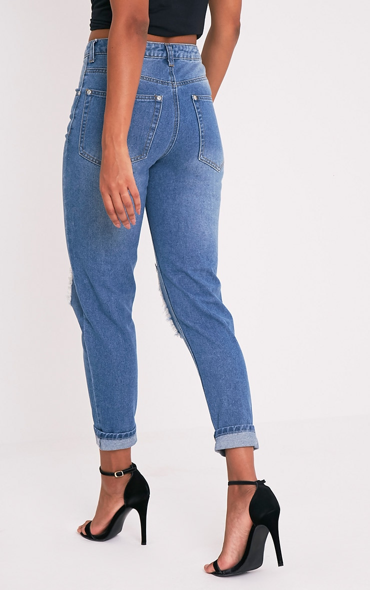 Mid Wash Open Knee Mom Jean 2