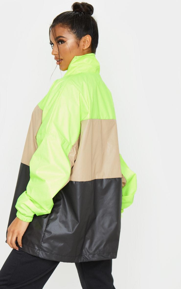 Stone Shell Colour Block Zip Up Windbreaker Jacket 2