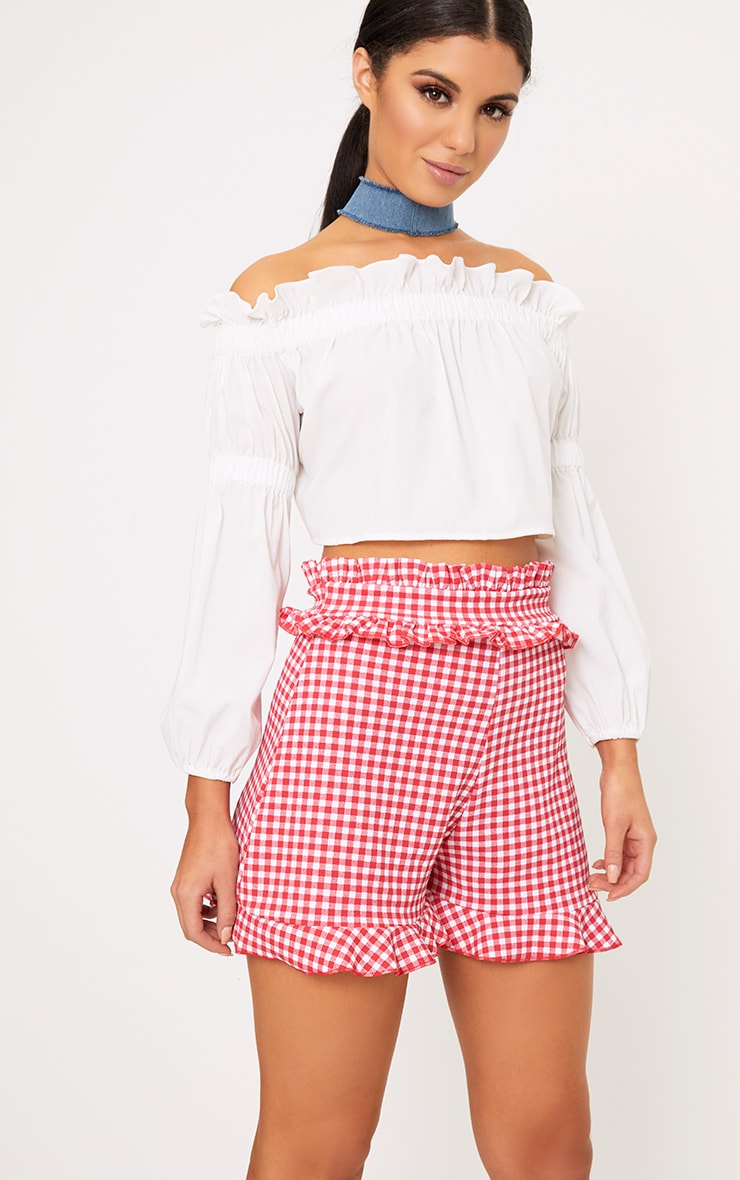 Red Gingham Frill Detail Shorts 1