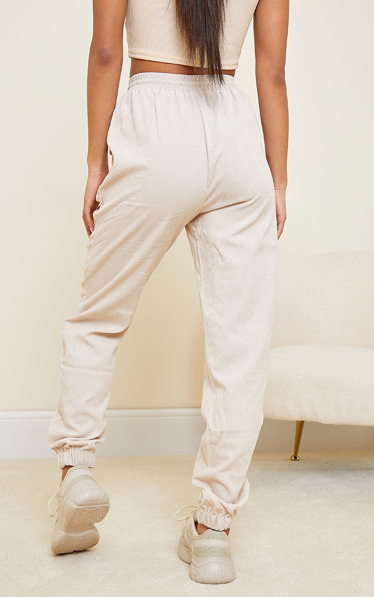 Cream Cord Pocket Detail Casual Joggers 3