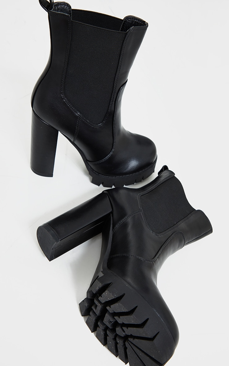 Black Contrast Stich Chucky Cleated Sole High Heels Chelsea Boots 4