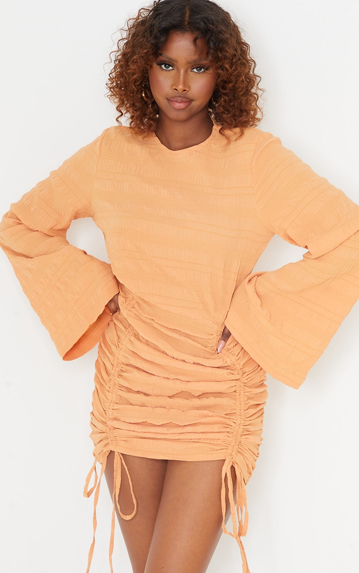 Tangerine Textured Ruched Detail Flare Sleeve Bodycon Dress 3