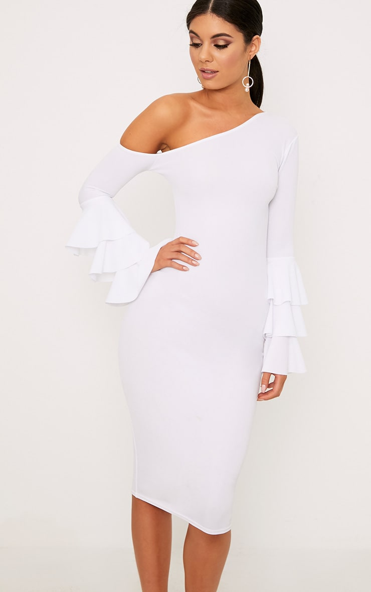White Frill Sleeve Asymmetric Midi Dress 1