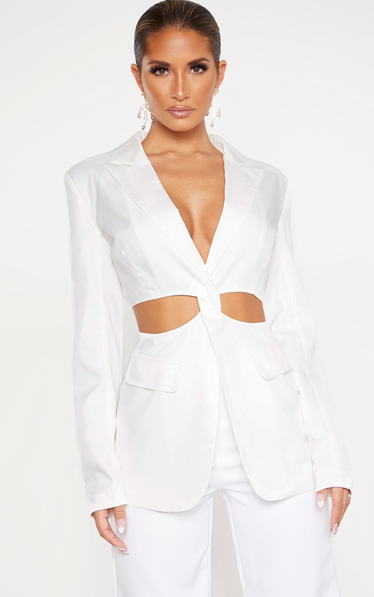 White Plunge Cut Out Detail Suit Blazer 1