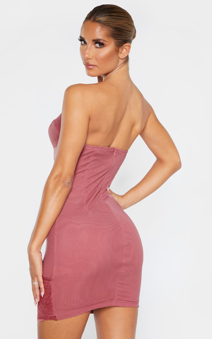 Mauve Bandeau Mesh Lace Insert Binded Bodycon Dress 2