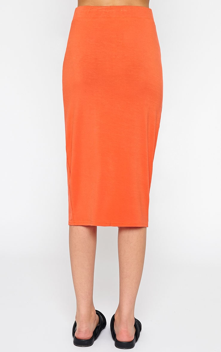 Sabbina Orange Jersey Wrap Midi Skirt 3