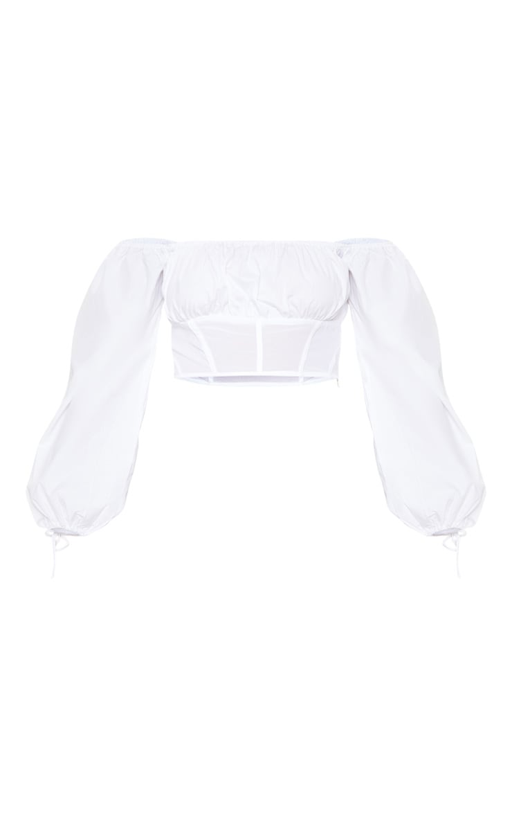 White Bardot Long Sleeve Mesh Panel Crop Top 3