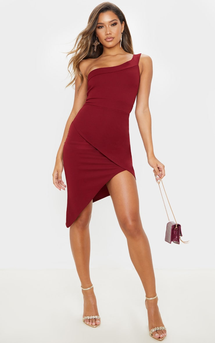 Burgundy One Shoulder Wrap Skirt Midi Dress 1