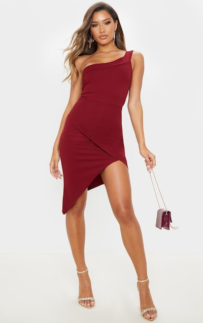 Burgundy One Shoulder Wrap Skirt Midi Dress