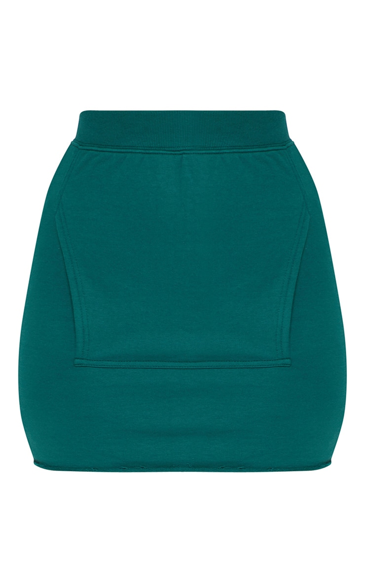 Emerald Green Sweat Pocket Mini Skirt 3