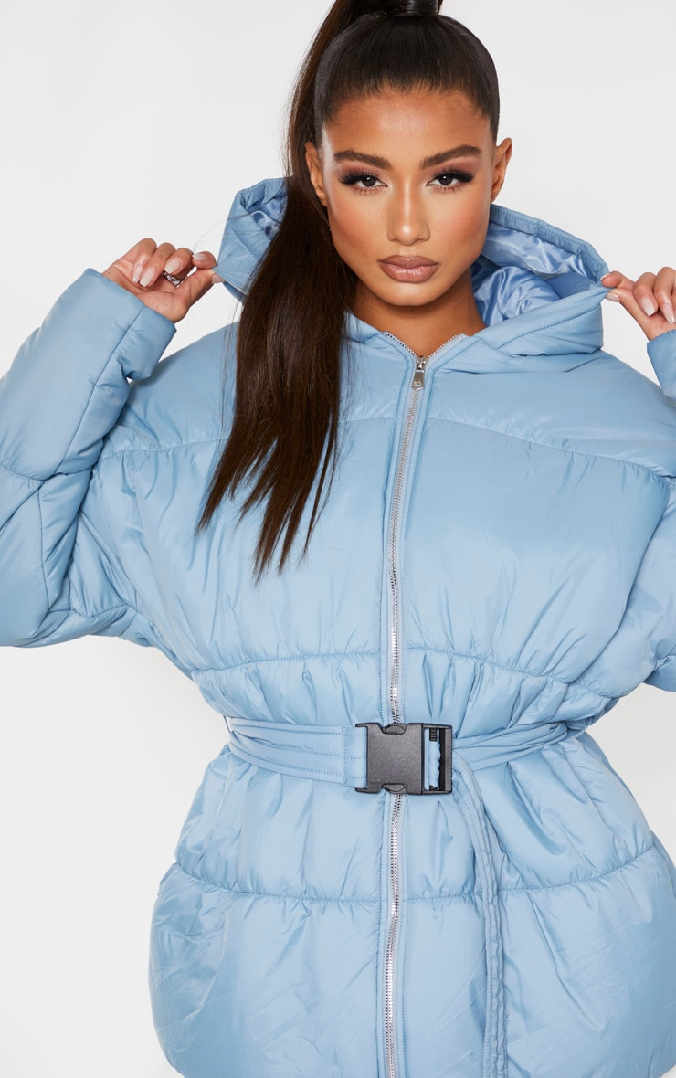 Baby Blue Hooded Midi Belted Puffer Jacket 5