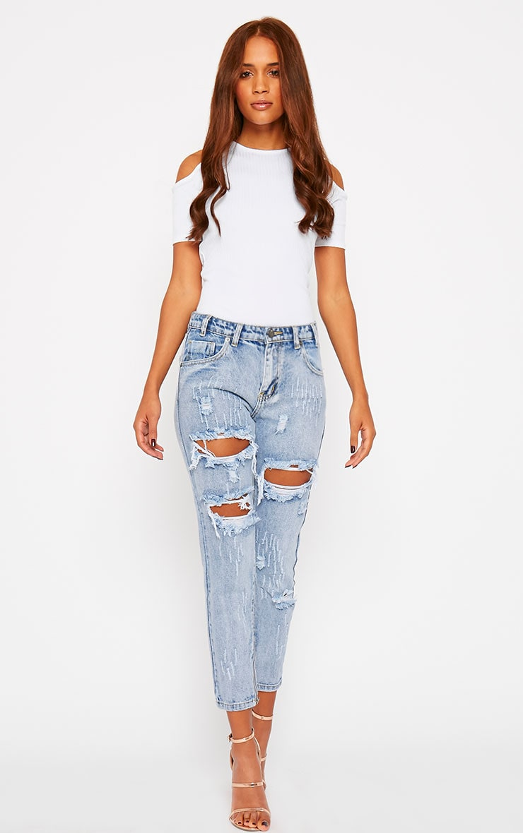 Marie White Ribbed Jersey Cut Out Shoulder Tee 3