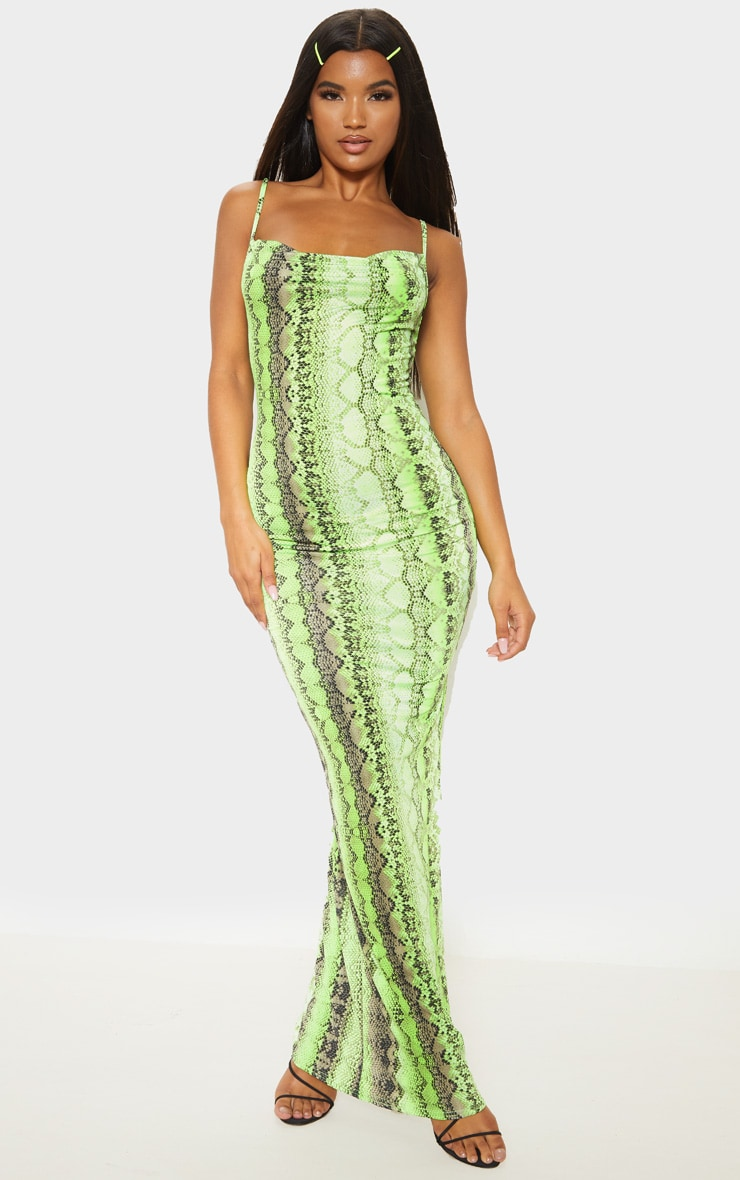 Neon Lime Cowl Snake Print Maxi Dress 1