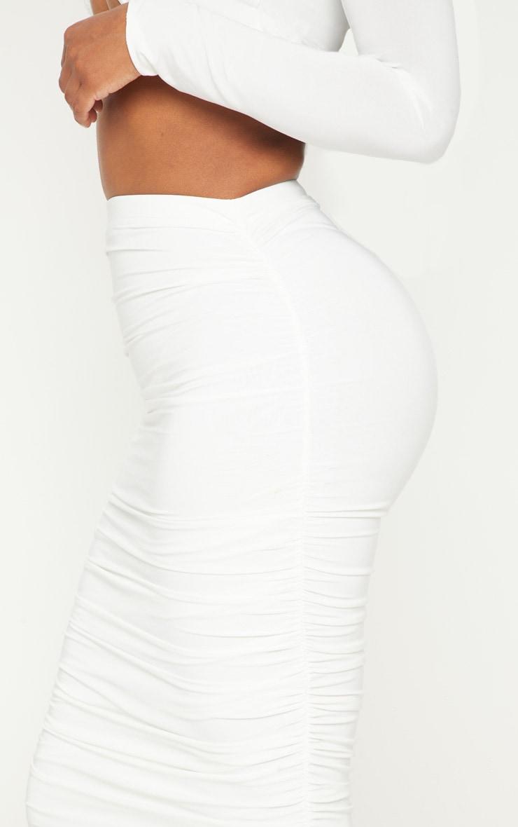 Shape White Slinky Ruched Midi Skirt 5