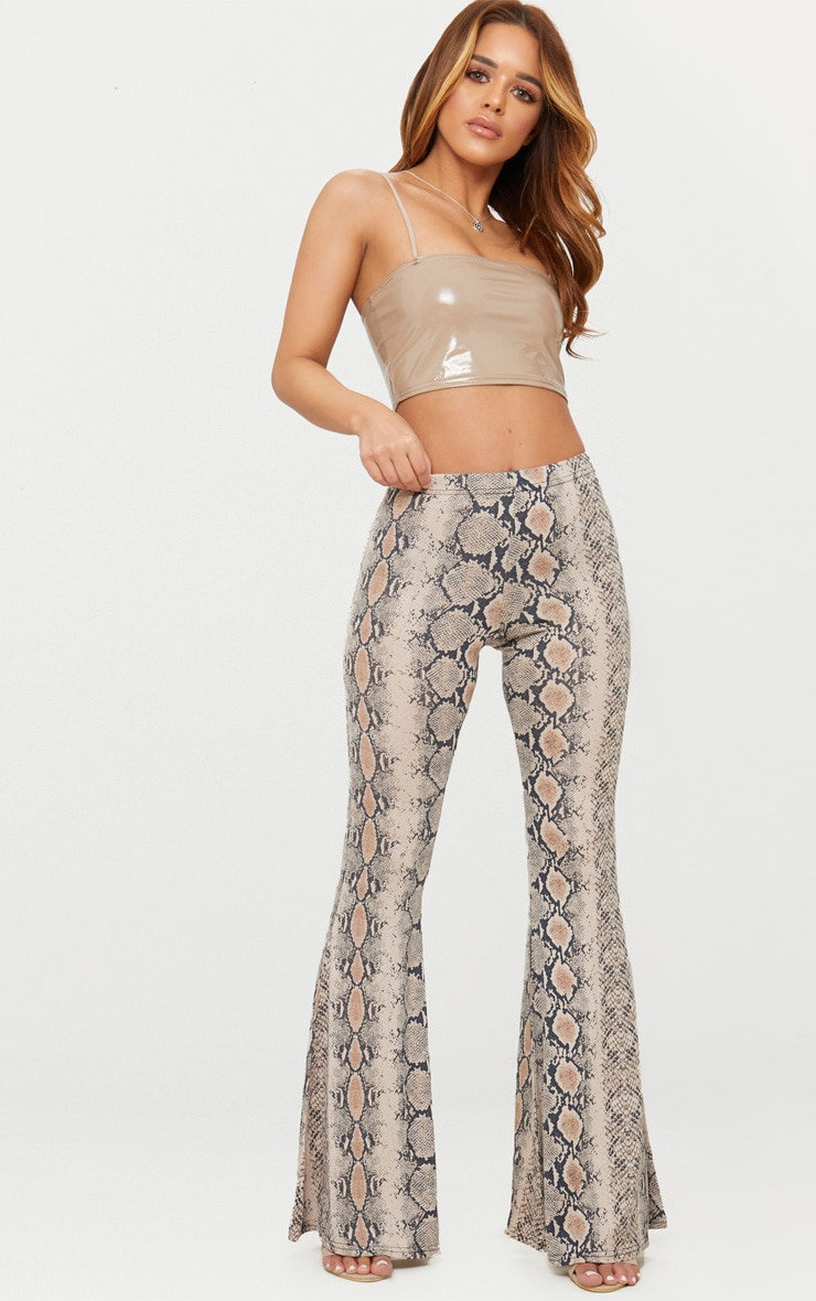 Petite Stone Snake Print Flared Trousers 1