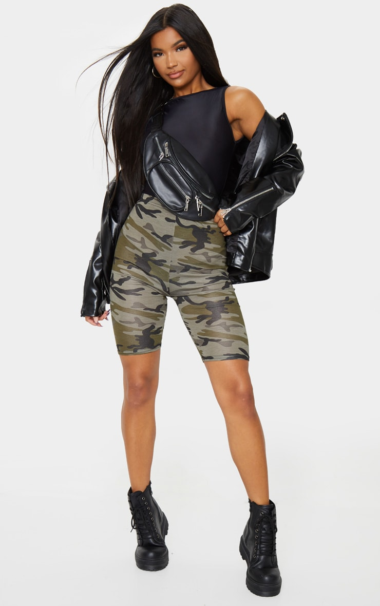 Khaki Camo Print Bike Shorts 4