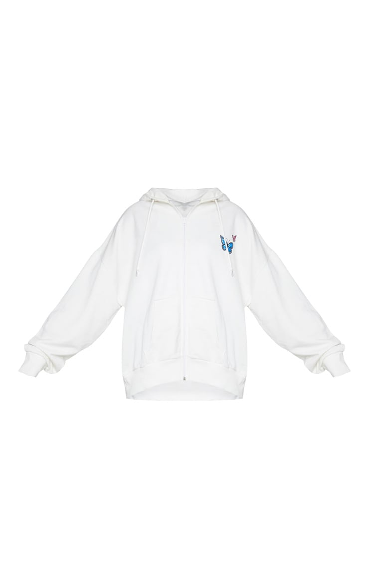 White Butterfly Oversized Hooded Jacket 5