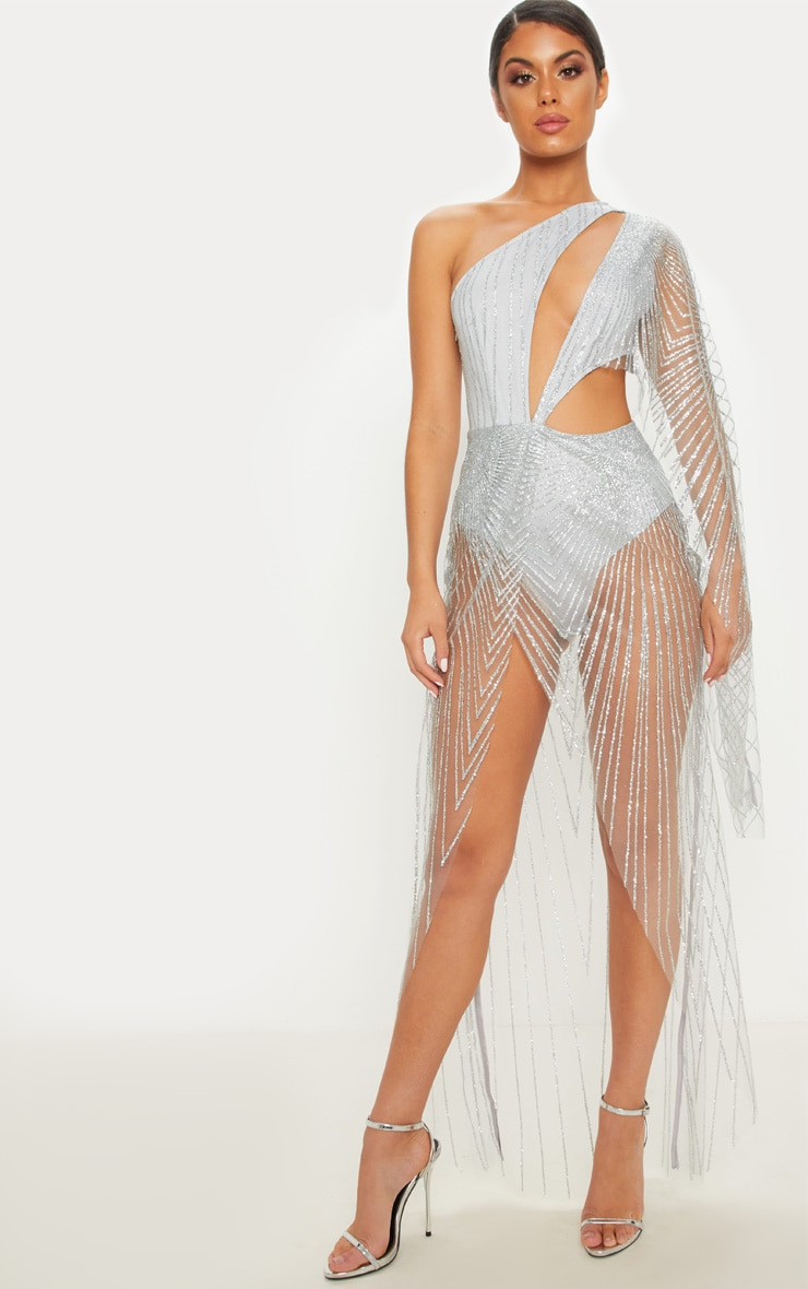 SILVER MESH GLITTER ONE SHOULDER CUT OUT MAXI DRESS