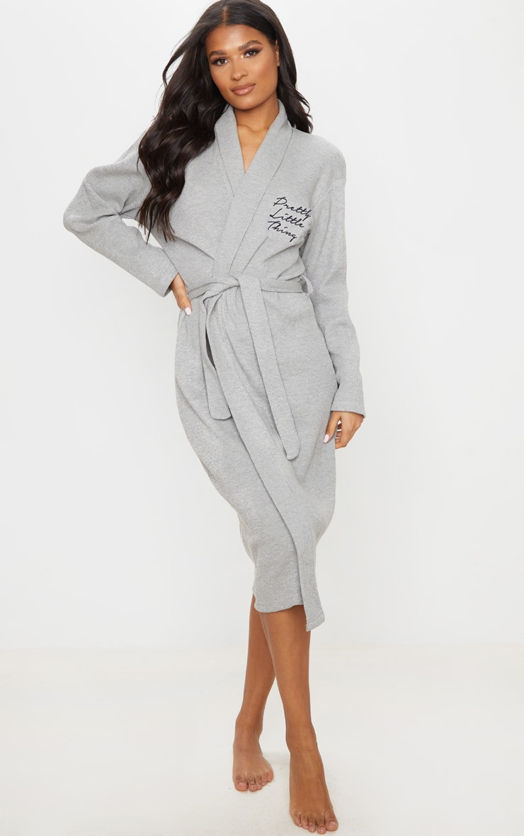 PRETTYLITTLETHING Grey Embroidered Long Waffle Dressing Gown 1