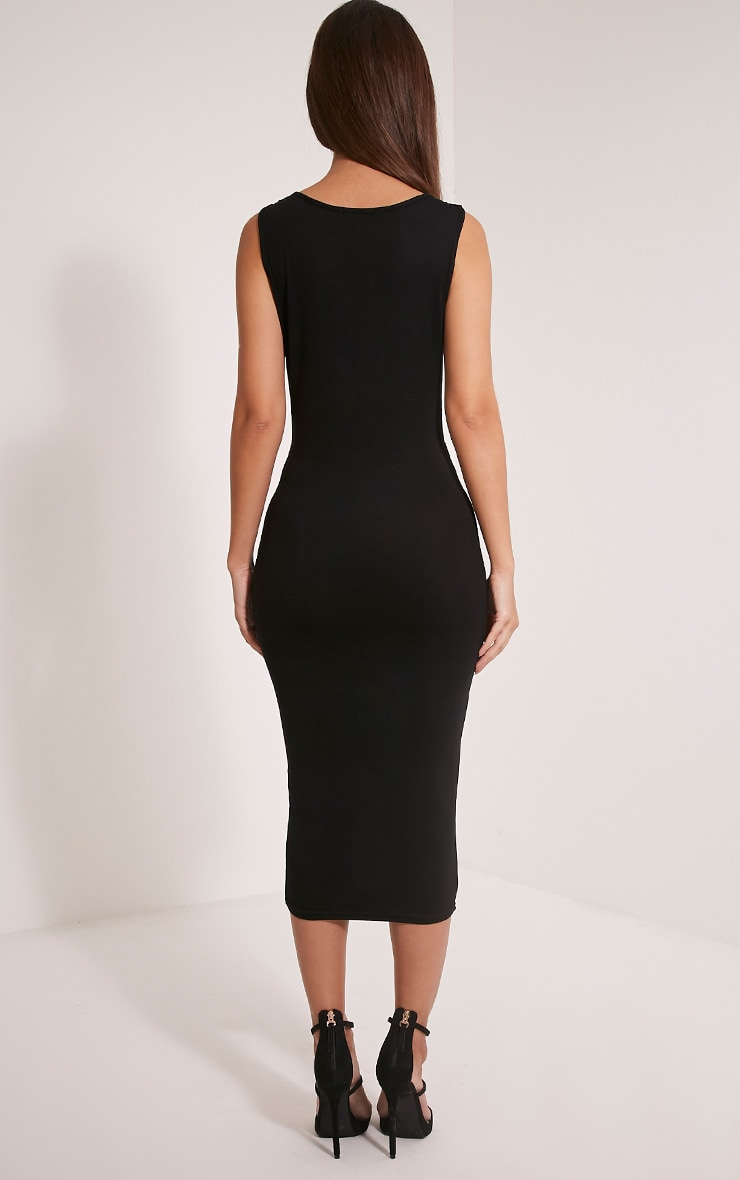 Basic Black Strap Detail Plunge Midi Dress 2