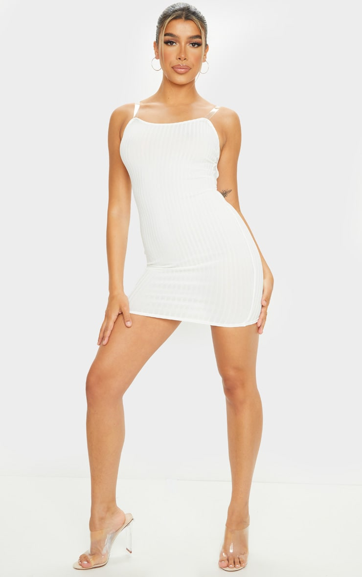Cream Clear Strap Ribbed Scoop Back Bodycon Dress 3
