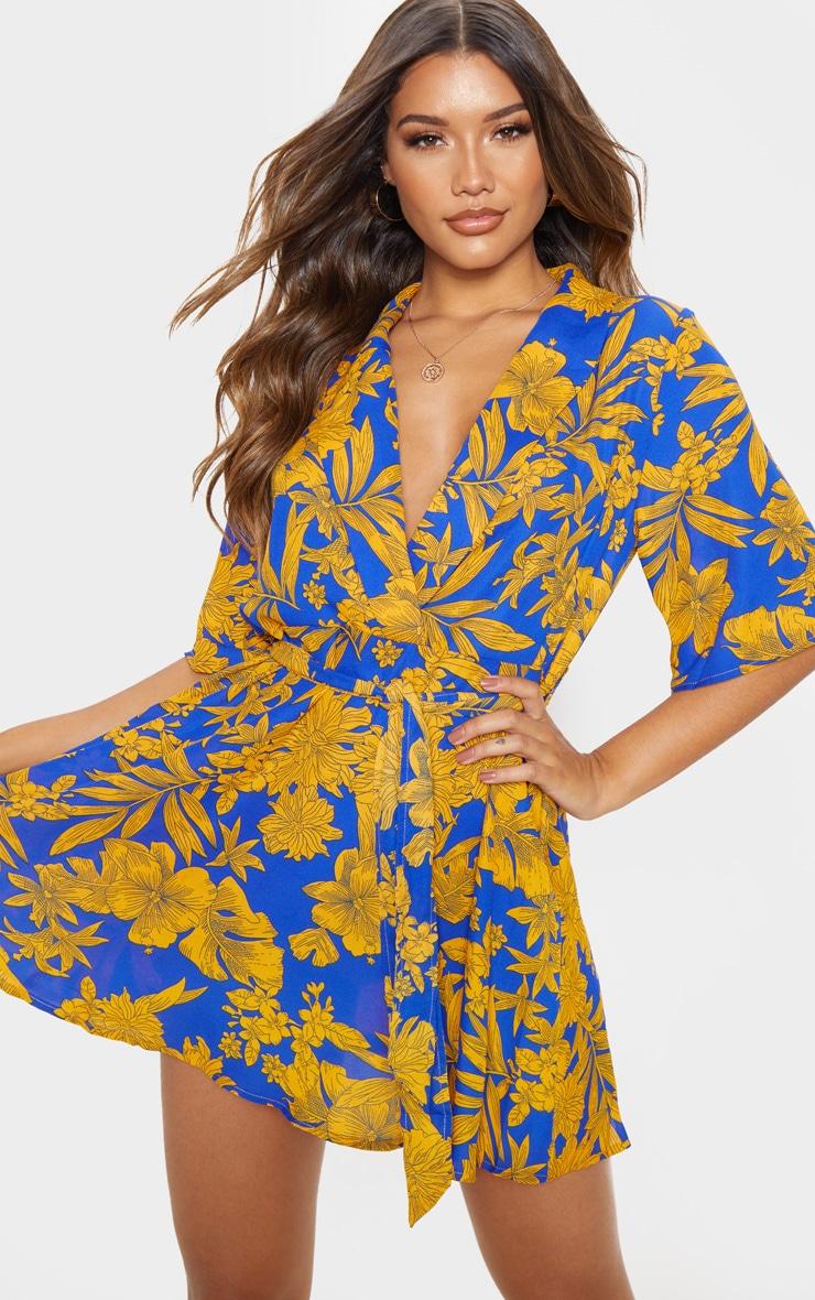 Cobalt Tropical Tea Dress 1