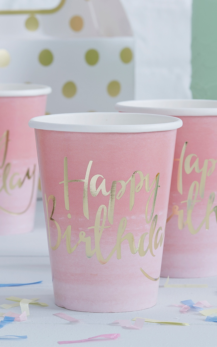 8 Pack Pink Ombre Happy Birthday Paper Cup 1