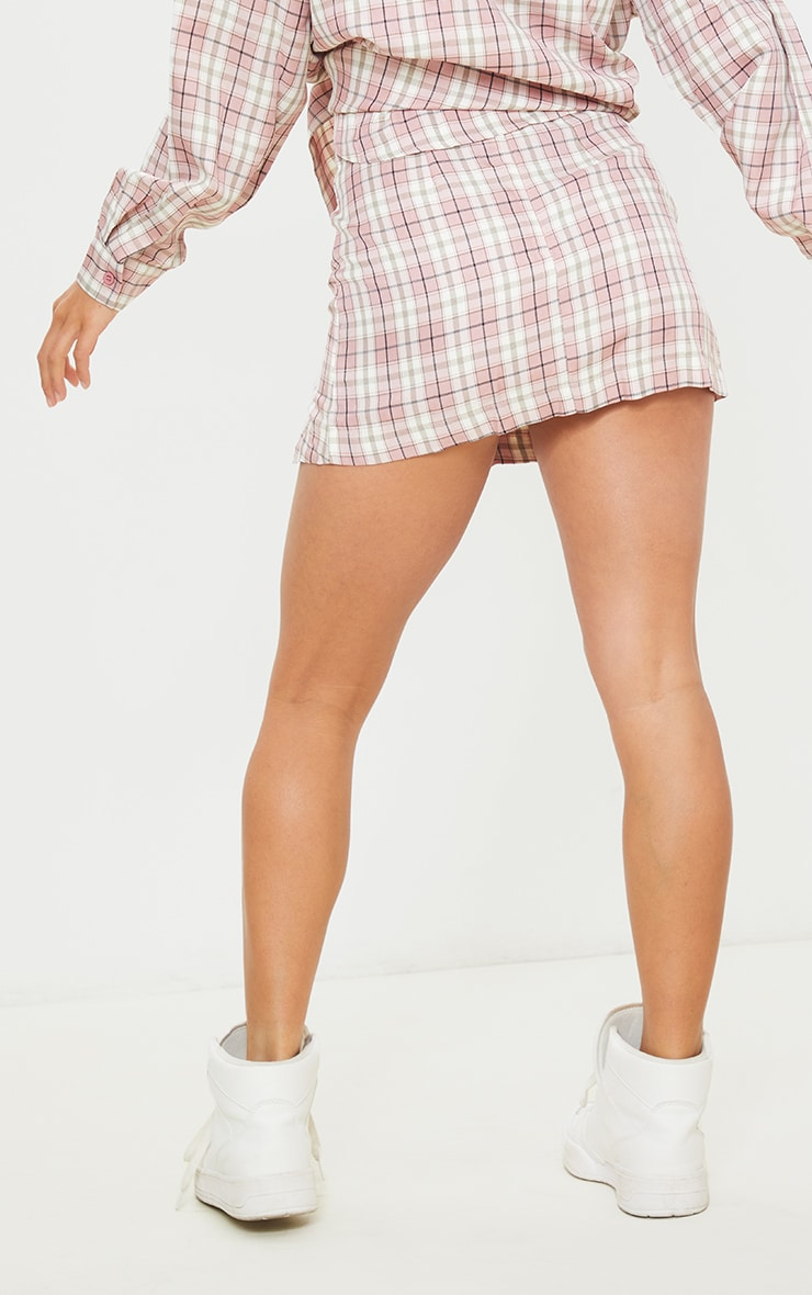 Petite Pink Checked Split Button Side Mini Skirt 3