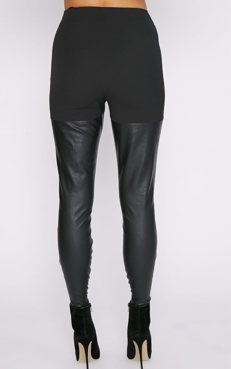 Philippa Black Suedette Panel Lace up Legging  6