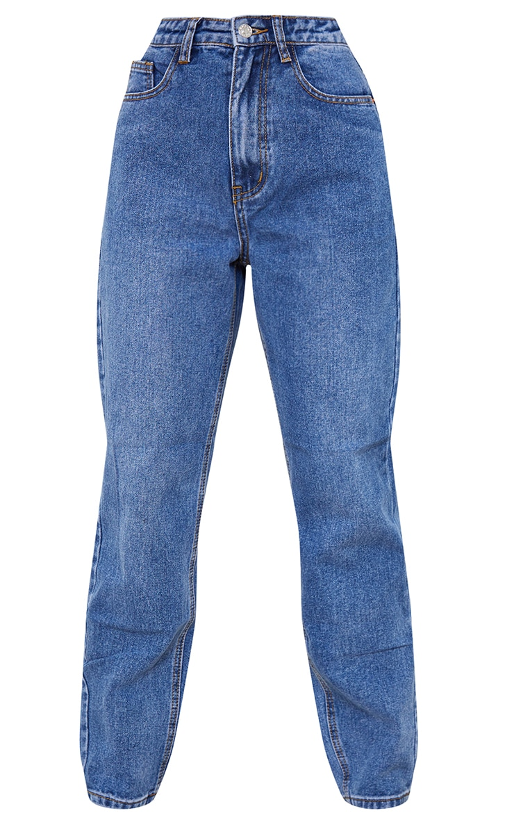 PRETTYLITTLETHING Petite Mid Wash Mom Jeans 5