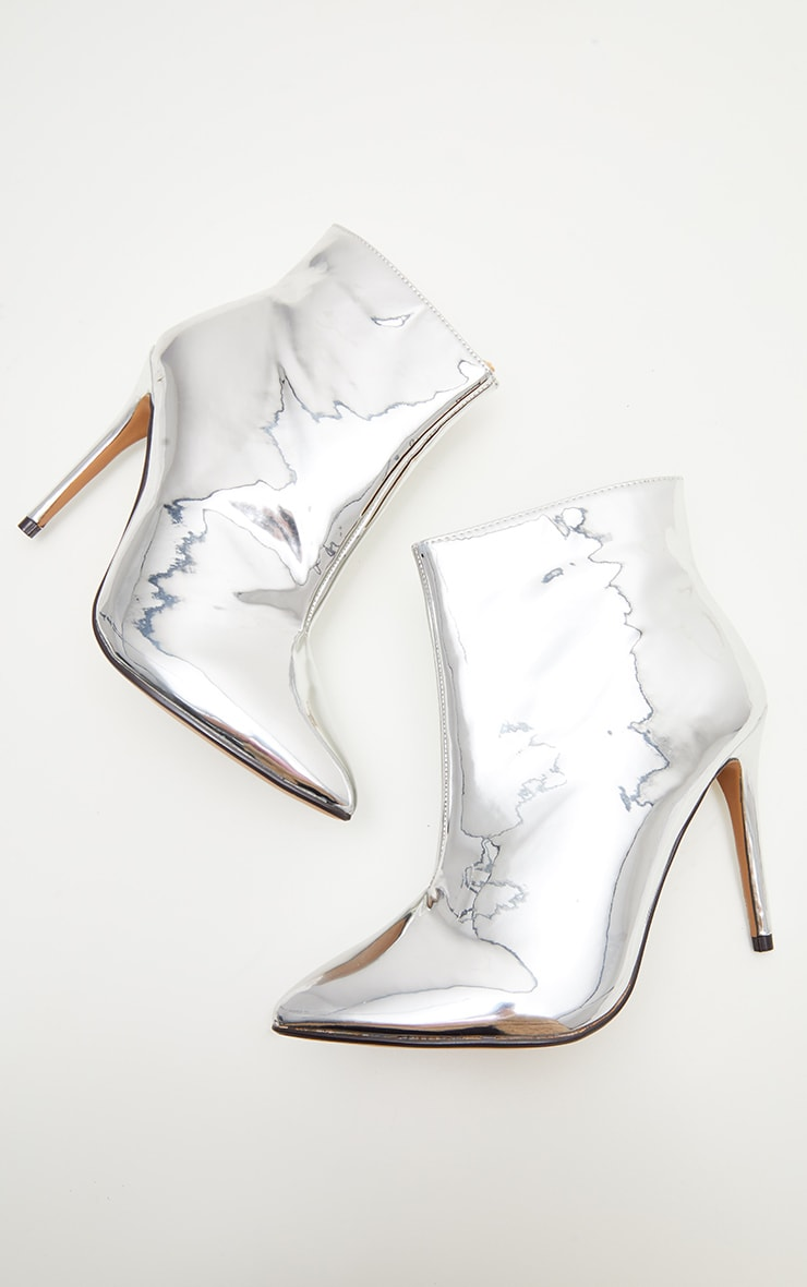Silver Patent Point Heel Ankle Boot  3