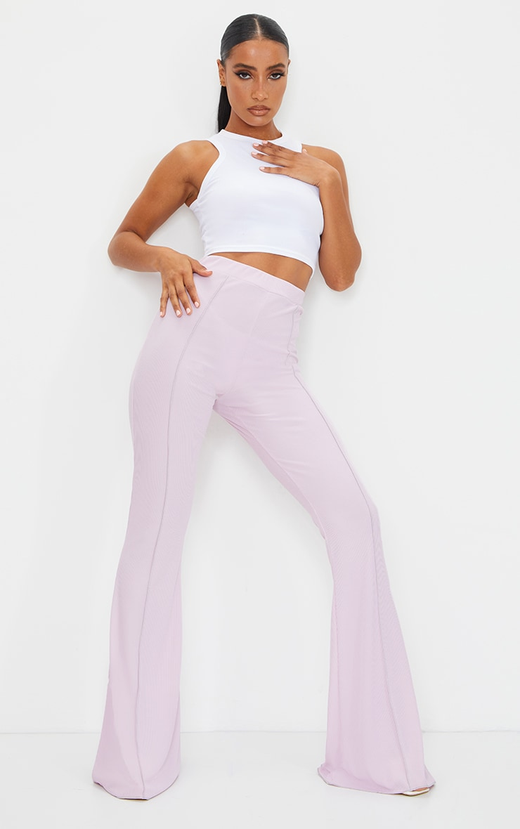Lilac Contrast Seam Ribbed Flare Pants 1