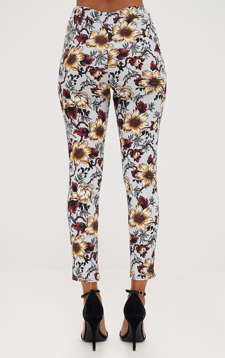 Grey Floral Skinny Trousers 4