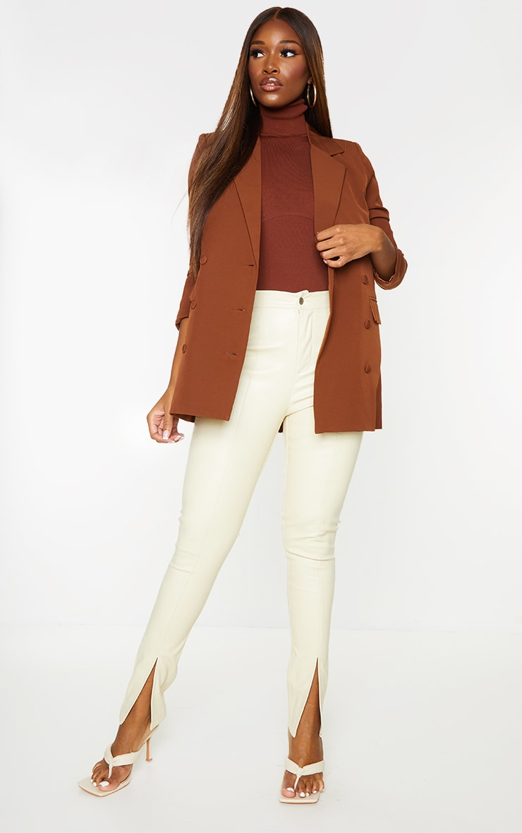 Chocolate Double Breasted Covered Button Blazer 3