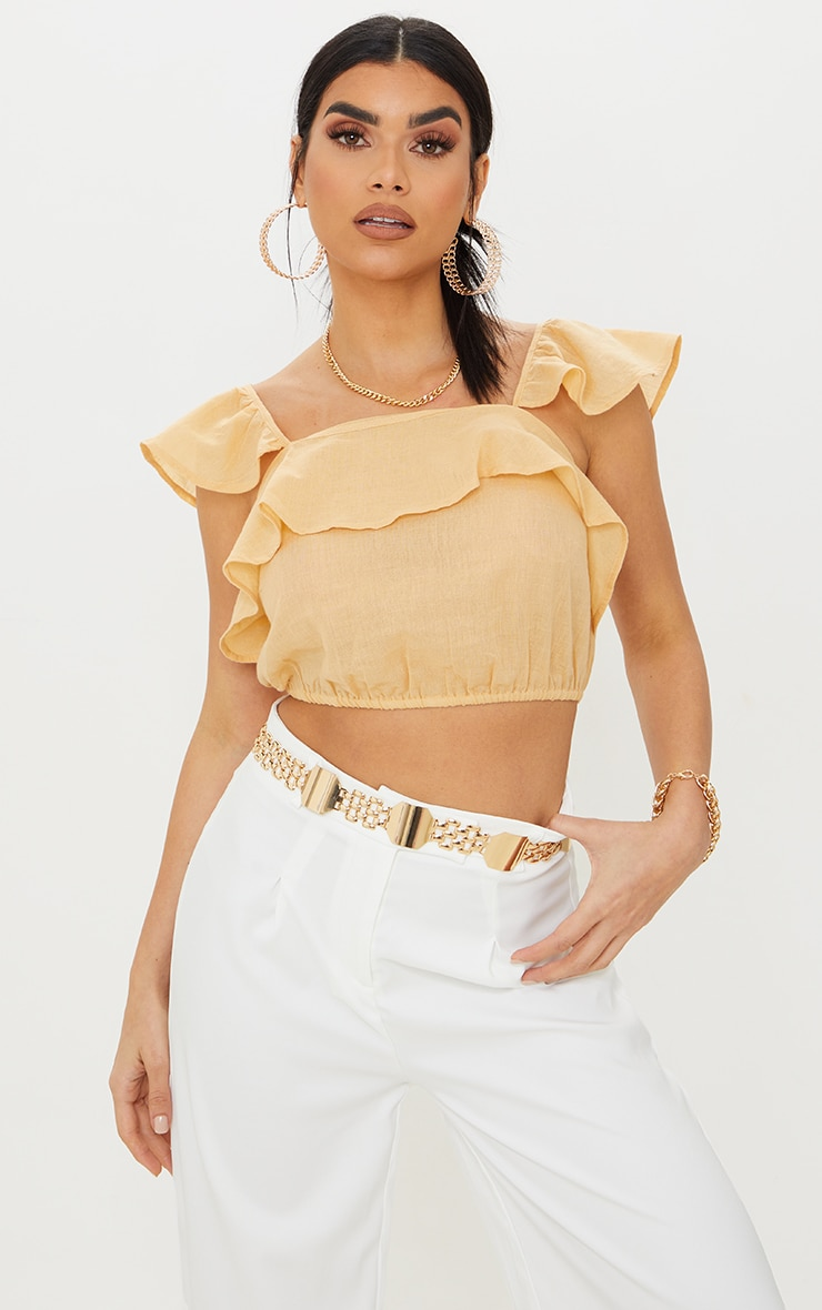 Sand Linen Look Ruffle Strappy Crop Top 1