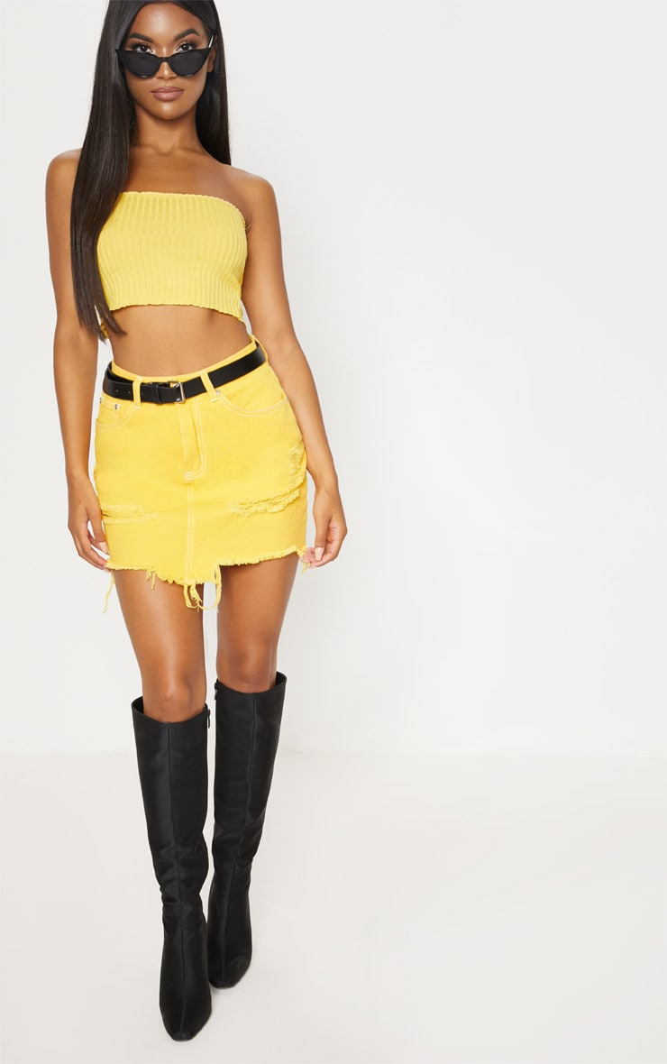 Yellow Contrast Stitch Denim Skirt 5