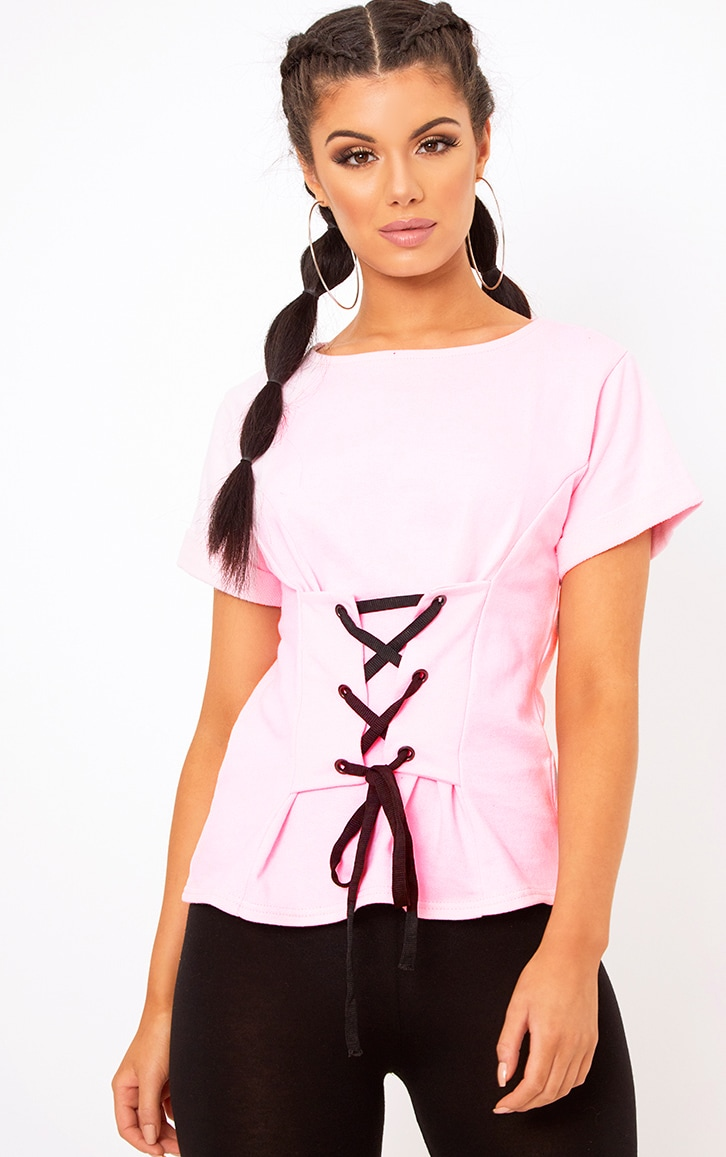 Baby Pink Corset Lace Up T Shirt Sweater 1
